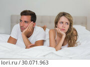 Купить «Couple not talking after an argument in bed», фото № 30071963, снято 17 декабря 2013 г. (c) Wavebreak Media / Фотобанк Лори