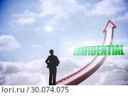 Купить «Confidential against red stairs arrow pointing up against sky», фото № 30074075, снято 21 марта 2014 г. (c) Wavebreak Media / Фотобанк Лори