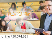 Купить «Follow your dream against lecturer standing in front of his class in lecture hall», фото № 30074631, снято 21 марта 2014 г. (c) Wavebreak Media / Фотобанк Лори