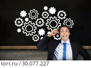 Купить «Composite image of thinking businessman scratching head», фото № 30077227, снято 25 марта 2014 г. (c) Wavebreak Media / Фотобанк Лори
