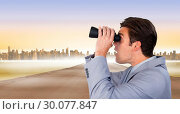Купить «Composite image of visionary businessman looking to the future», фото № 30077847, снято 25 марта 2014 г. (c) Wavebreak Media / Фотобанк Лори