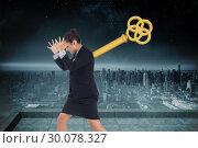 Купить «Composite image of wound up businesswoman gesturing», фото № 30078327, снято 28 марта 2014 г. (c) Wavebreak Media / Фотобанк Лори