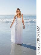 Купить «Pretty blonde smiling at camera at the beach in white sundress », фото № 30079651, снято 14 февраля 2014 г. (c) Wavebreak Media / Фотобанк Лори
