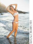 Купить «Beautiful smiling blonde in white bikini at the beach with wet hair», фото № 30081151, снято 12 февраля 2014 г. (c) Wavebreak Media / Фотобанк Лори