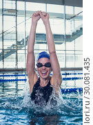 Купить «Excited swimmer cheering in the swimming pool», фото № 30081435, снято 26 февраля 2014 г. (c) Wavebreak Media / Фотобанк Лори