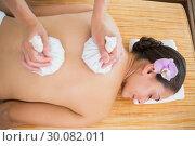 Купить «Smiling woman getting a back massage with herbal compresses», фото № 30082011, снято 9 апреля 2014 г. (c) Wavebreak Media / Фотобанк Лори