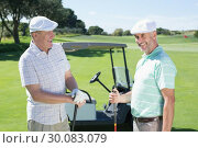 Купить «Golfing friends chatting beside their buggy», фото № 30083079, снято 3 апреля 2014 г. (c) Wavebreak Media / Фотобанк Лори