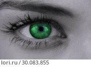 Bright green eye on female face. Стоковое фото, агентство Wavebreak Media / Фотобанк Лори