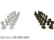 Купить «Wooden chess pieces facing off », фото № 30084443, снято 27 мая 2014 г. (c) Wavebreak Media / Фотобанк Лори