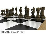 Купить «Black chess pieces on board», фото № 30084471, снято 27 мая 2014 г. (c) Wavebreak Media / Фотобанк Лори