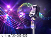 Купить «Composite image of retro chrome microphone», фото № 30085635, снято 11 июня 2014 г. (c) Wavebreak Media / Фотобанк Лори