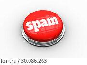 Купить «Spam on digitally generated red push button», фото № 30086263, снято 16 июня 2014 г. (c) Wavebreak Media / Фотобанк Лори