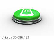 Composite image of earth on tablet screen graphic on button. Стоковое фото, агентство Wavebreak Media / Фотобанк Лори