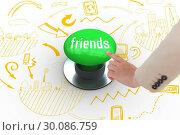 Купить «Friends against digitally generated green push button», фото № 30086759, снято 26 июня 2014 г. (c) Wavebreak Media / Фотобанк Лори