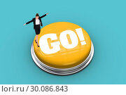 Купить «Go! against blue vignette», фото № 30086843, снято 26 июня 2014 г. (c) Wavebreak Media / Фотобанк Лори