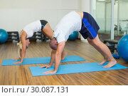 Купить «Sporty couple in bending posture at fitness studio», фото № 30087131, снято 27 февраля 2014 г. (c) Wavebreak Media / Фотобанк Лори