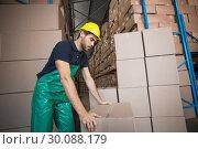 Купить «Warehouse worker loading up a pallet », фото № 30088179, снято 10 мая 2014 г. (c) Wavebreak Media / Фотобанк Лори