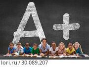 Купить «Composite image of cute pupils smiling at camera with teacher», фото № 30089207, снято 7 августа 2014 г. (c) Wavebreak Media / Фотобанк Лори
