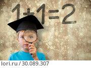Купить «Composite image of cute pupil looking through magnifying glass», фото № 30089307, снято 7 августа 2014 г. (c) Wavebreak Media / Фотобанк Лори