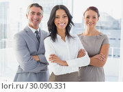 Купить «Businesswoman smiling with folded arms », фото № 30090331, снято 6 мая 2014 г. (c) Wavebreak Media / Фотобанк Лори