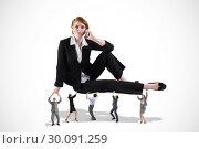 Купить «Composite image of business team supporting boss», фото № 30091259, снято 22 августа 2014 г. (c) Wavebreak Media / Фотобанк Лори