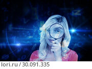 Купить «Composite image of fair-haired woman looking through a magnifying glass», фото № 30091335, снято 22 августа 2014 г. (c) Wavebreak Media / Фотобанк Лори