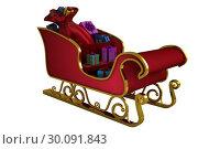 Купить «Red and gold santa sleigh», фото № 30091843, снято 22 августа 2014 г. (c) Wavebreak Media / Фотобанк Лори