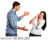Купить «Aggressive man overpowering his girlfriend», фото № 30093283, снято 2 июля 2014 г. (c) Wavebreak Media / Фотобанк Лори