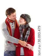Купить «Smiling couple looking at each other», фото № 30093479, снято 4 июля 2014 г. (c) Wavebreak Media / Фотобанк Лори