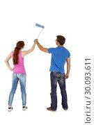 Купить «Couple painting a wall together», фото № 30093611, снято 4 июля 2014 г. (c) Wavebreak Media / Фотобанк Лори