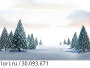 Купить «Snowy landscape with fir trees», фото № 30093671, снято 26 августа 2014 г. (c) Wavebreak Media / Фотобанк Лори
