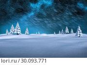 Купить «Composite image of white snowy landscape with fir trees», фото № 30093771, снято 26 августа 2014 г. (c) Wavebreak Media / Фотобанк Лори