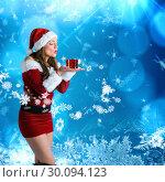 Купить «Composite image of pretty girl in santa costume holding hand out», фото № 30094123, снято 26 августа 2014 г. (c) Wavebreak Media / Фотобанк Лори