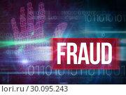 Купить «Fraud against blue technology design with binary code», фото № 30095243, снято 28 августа 2014 г. (c) Wavebreak Media / Фотобанк Лори