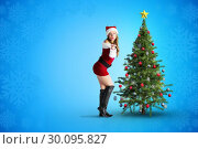 Купить «Composite image of sexy santa girl blowing a kiss», фото № 30095827, снято 29 августа 2014 г. (c) Wavebreak Media / Фотобанк Лори