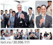 Купить «Composite image of collage of business people celebrating success », фото № 30096111, снято 29 августа 2014 г. (c) Wavebreak Media / Фотобанк Лори