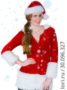 Купить «Composite image of pretty girl in santa costume smiling at camera», фото № 30096327, снято 29 августа 2014 г. (c) Wavebreak Media / Фотобанк Лори