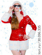 Купить «Composite image of cool santa girl wearing sunglasses», фото № 30096335, снято 29 августа 2014 г. (c) Wavebreak Media / Фотобанк Лори
