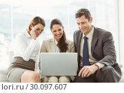 Купить «Business people using laptop», фото № 30097607, снято 8 мая 2014 г. (c) Wavebreak Media / Фотобанк Лори
