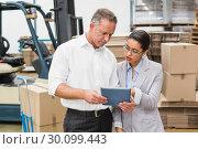 Купить «Warehouse manager and her boss working together», фото № 30099443, снято 6 сентября 2014 г. (c) Wavebreak Media / Фотобанк Лори
