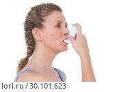 Купить «Woman using inhaler for asthma», фото № 30101623, снято 13 ноября 2014 г. (c) Wavebreak Media / Фотобанк Лори