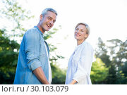 Купить «Happy couple smiling at the camera in the park », фото № 30103079, снято 17 ноября 2014 г. (c) Wavebreak Media / Фотобанк Лори