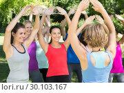 Купить «Fitness group warming up in park», фото № 30103167, снято 18 ноября 2014 г. (c) Wavebreak Media / Фотобанк Лори
