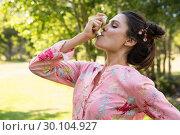 Купить «Pretty brunette using her inhaler», фото № 30104927, снято 19 ноября 2014 г. (c) Wavebreak Media / Фотобанк Лори