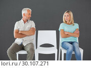 Купить «Composite image of unhappy couple not speaking to each other », фото № 30107271, снято 19 января 2015 г. (c) Wavebreak Media / Фотобанк Лори