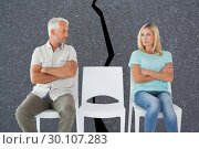 Купить «Composite image of unhappy couple not speaking to each other », фото № 30107283, снято 19 января 2015 г. (c) Wavebreak Media / Фотобанк Лори