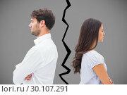 Купить «Composite image of upset couple not talking to each other after fight», фото № 30107291, снято 19 января 2015 г. (c) Wavebreak Media / Фотобанк Лори