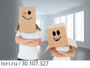 Купить «Composite image of mature couple wearing boxes over their heads», фото № 30107327, снято 19 января 2015 г. (c) Wavebreak Media / Фотобанк Лори