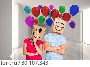 Купить «Composite image of young couple with bags over heads», фото № 30107343, снято 19 января 2015 г. (c) Wavebreak Media / Фотобанк Лори