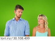 Купить «Composite image of young couple making silly faces», фото № 30108499, снято 21 января 2015 г. (c) Wavebreak Media / Фотобанк Лори